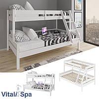 Двухэтажная кровать VitaliSpa 120х200, натуральное дерево, белая