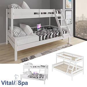 Двоярусне ліжко VitaliSpa 120х200, натуральне дерево, біле