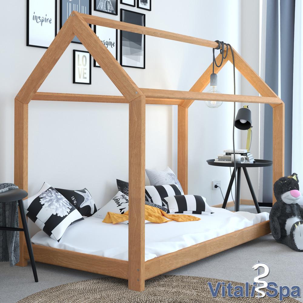 Дитяче ліжко - будиночок 90x200 VitaliSpa натуральне дерево