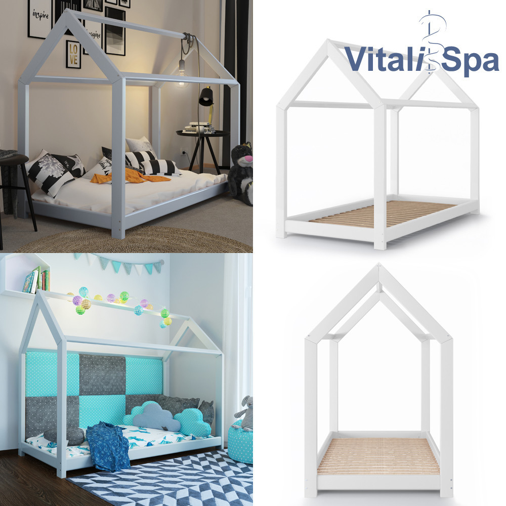 Дитяче ліжко - будиночок 90x200 VitaliSpa, натуральне дерево, біле