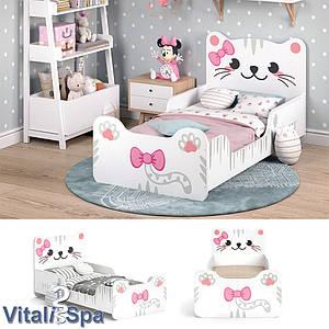 Дитяче ліжко для дівчинки 80x160 VitaliSpa Izzy, кошеня