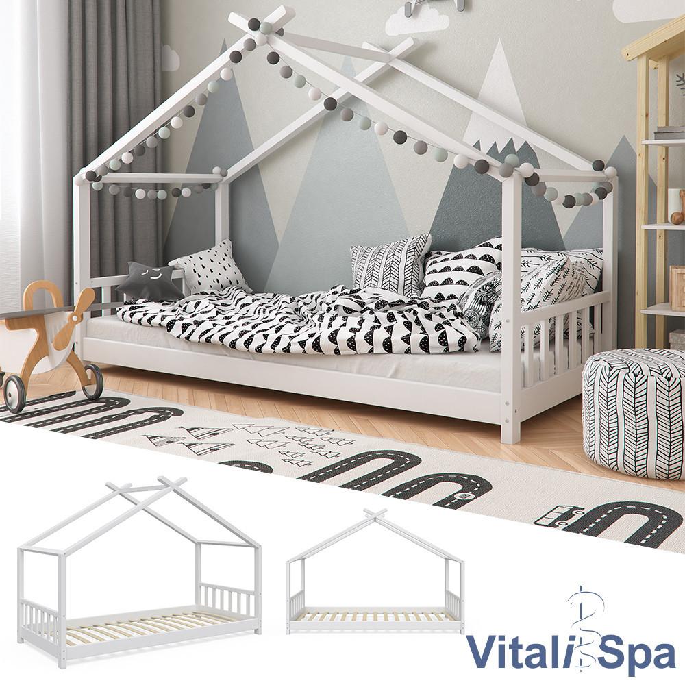 Детская кровать с бортиком 90x200 VitaliSpa, натуральное дерево, белая