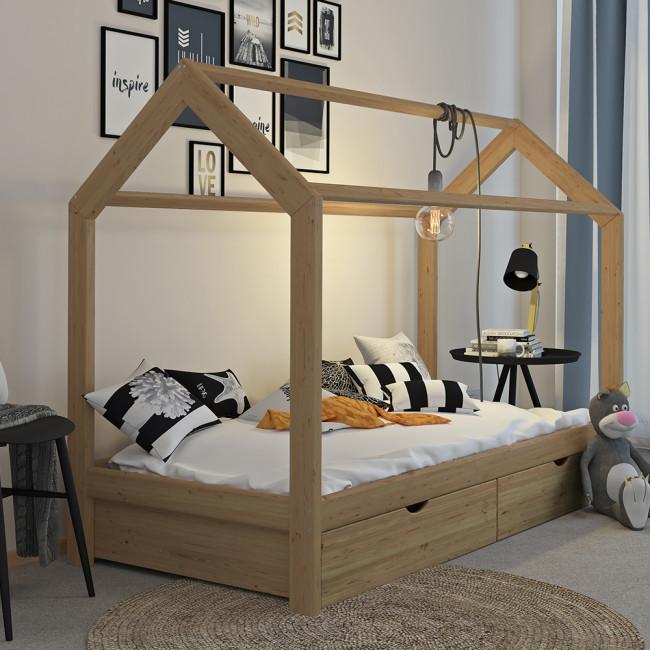 Дитяче ліжко з шухлядами 90x200 VitaliSpa, натуральне дерево