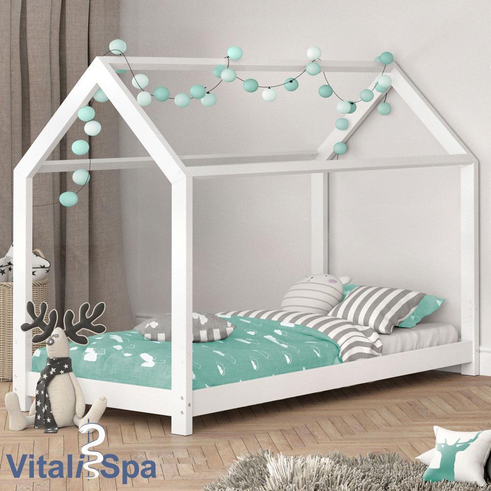 Домик кровать для детей 90х200 VitaliSpa, натуральное дерево, белая