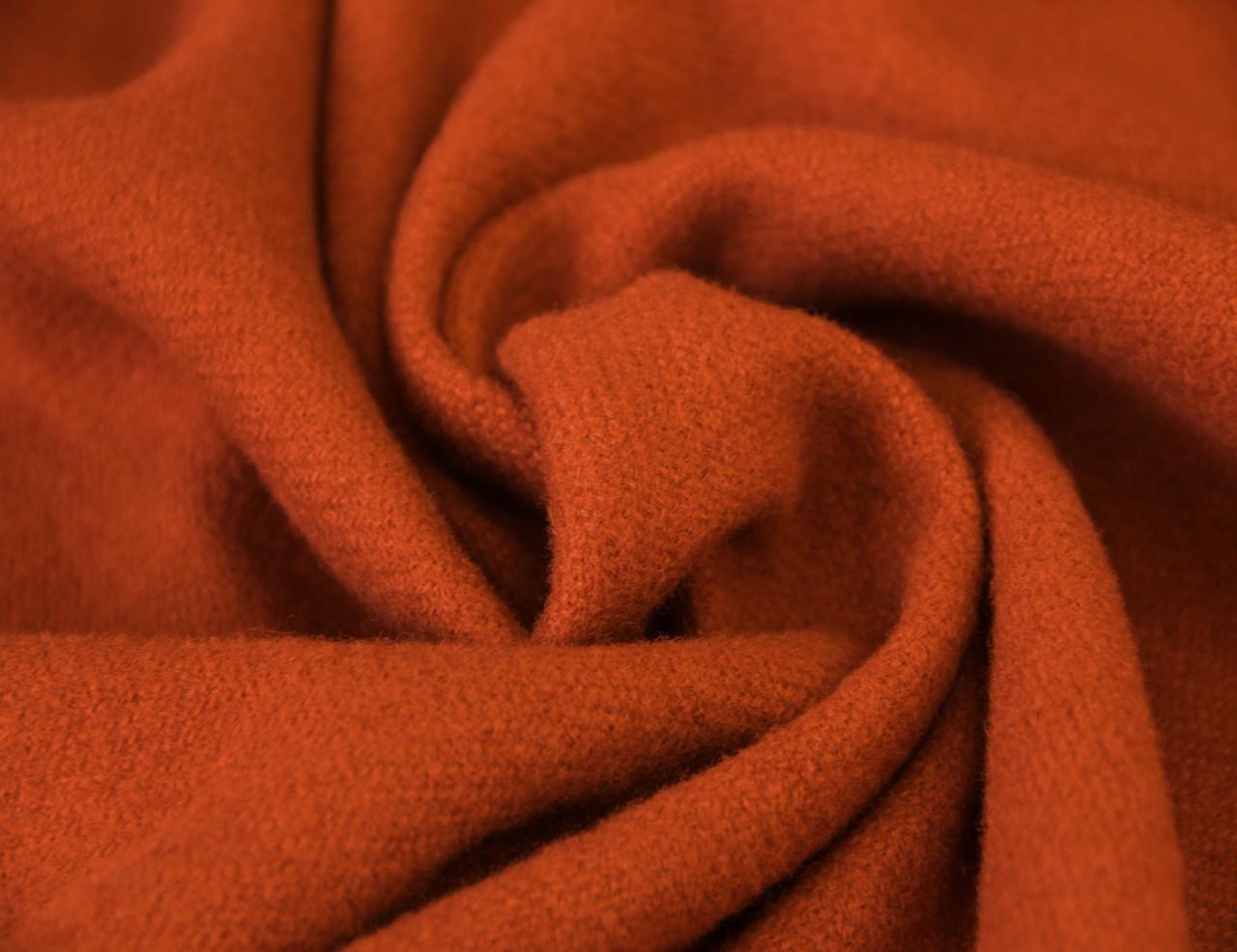 Пальтовая ткань итальянская шерстяная натуральная оранжевый однотонная DOK 10