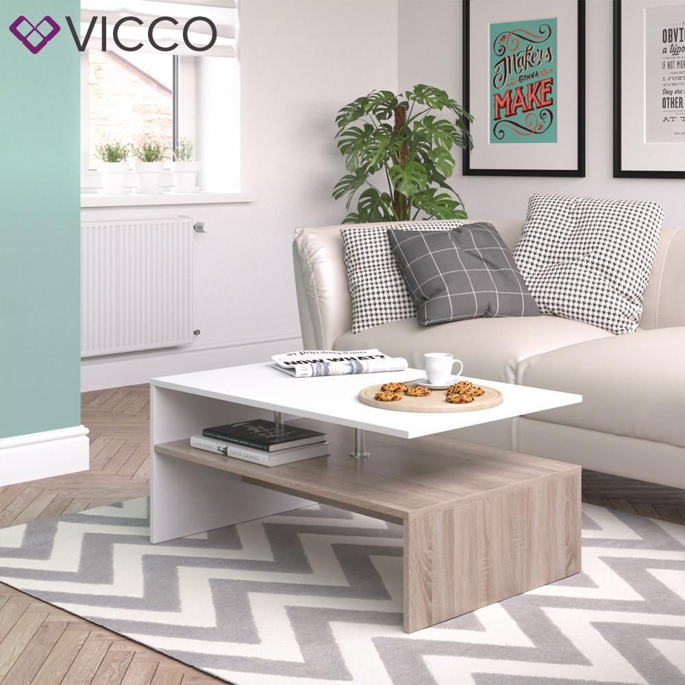 Журнальний стіл 90x60 Vicco Amato, сонома, білий