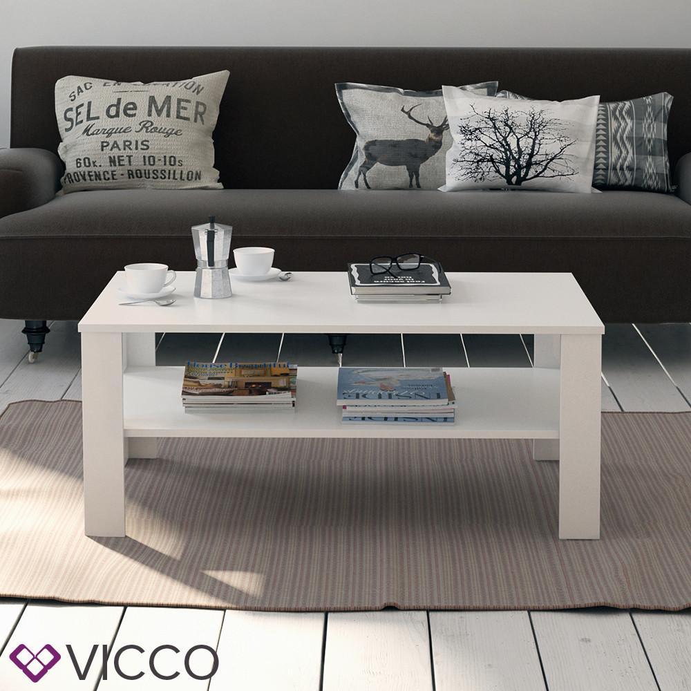 Журнальний стіл з полицею 100x60 Vicco Gabriel, білий