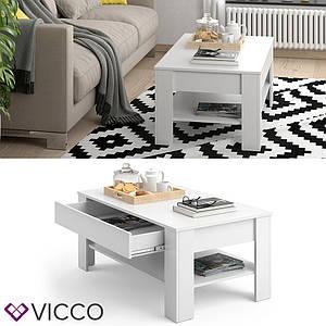 Журнальний стіл з шухлядою 110х65 Vicco Milan, білий