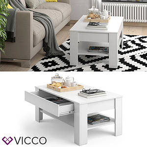 Журнальный стол с ящиком 110х65 Vicco Milan, белый