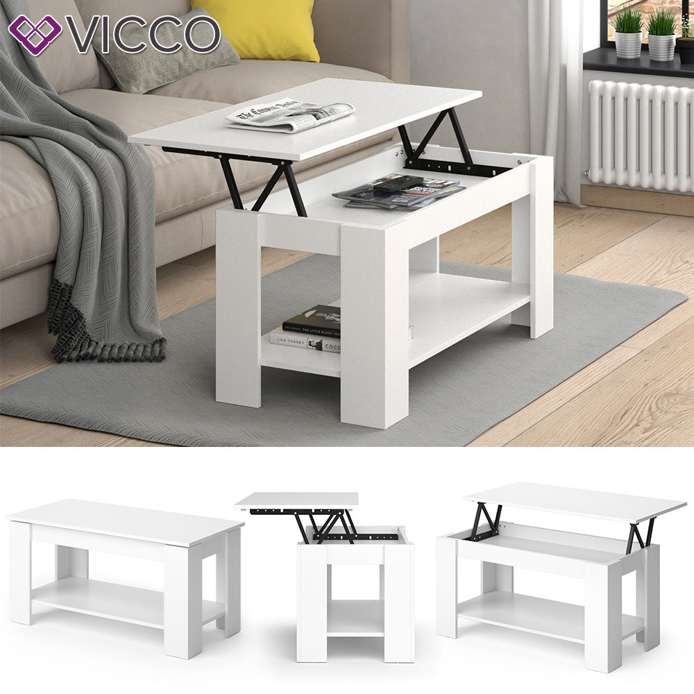 Журнальний стіл трансформер 100х50 Vicco Lorenz, білий