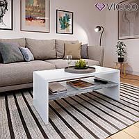 Журнальный столик с полкой, 100x40, белый, бетон
