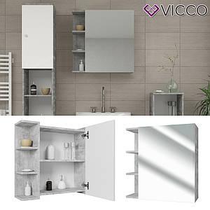 Зеркальный шкаф в ванную 64x62 Vicсo Fynn, бетон