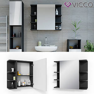 Зеркальный шкаф в ванную 64x80 Vicсo Fynn, антрацит