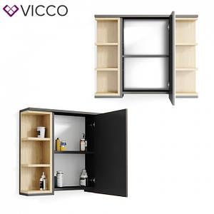 Зеркальный шкаф для ванной 80x64 Vicco Aquis, антрацит