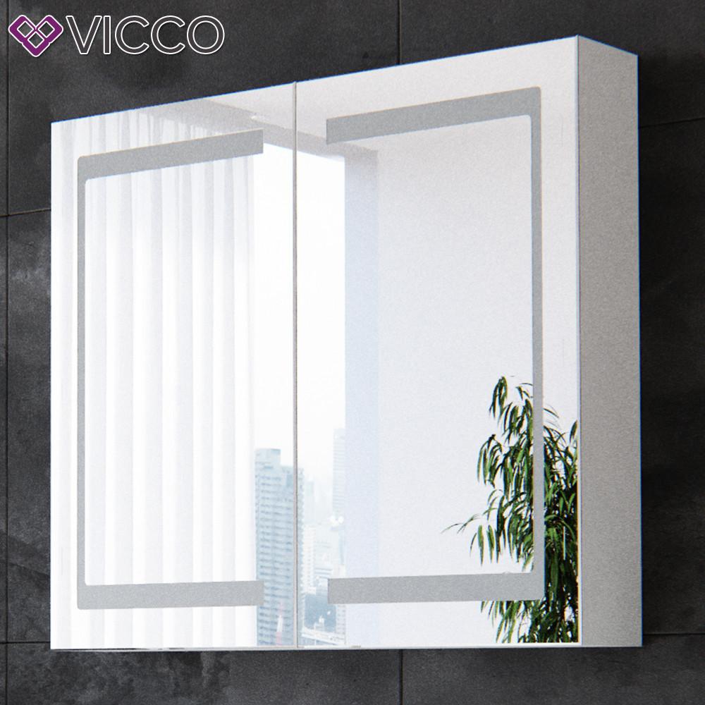 Зеркальный шкаф с подсветкой 80х70, LED Vicco белый