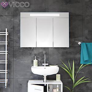 Зеркальный шкаф с подсветкой 90х65, LED Vicco белый