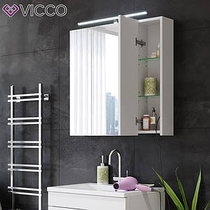 Зеркальный шкафчик 72х72 Vicco Rick с LED подсветкой, белый