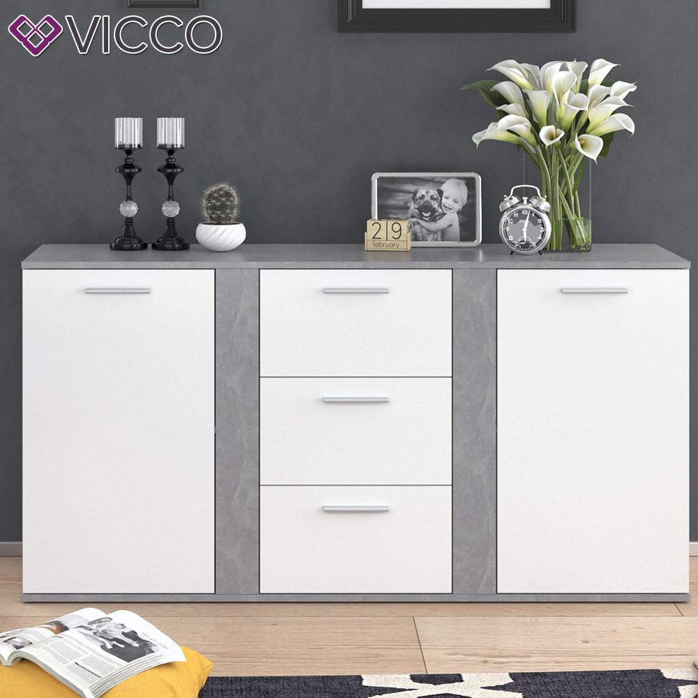 Комод для вещей 155х80 Vicco Novelli, белый, бетон