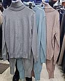 Женский кашемировый вязаный костюм серый голубой бежевый, фото 7