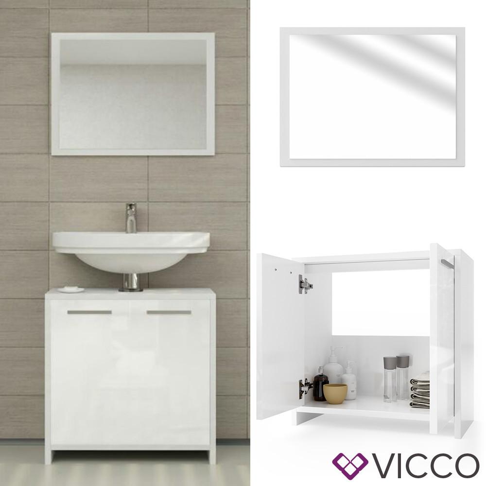 Комплект в ванную 2 предмета Vicco Kiko, зеркало + тумба, глянец