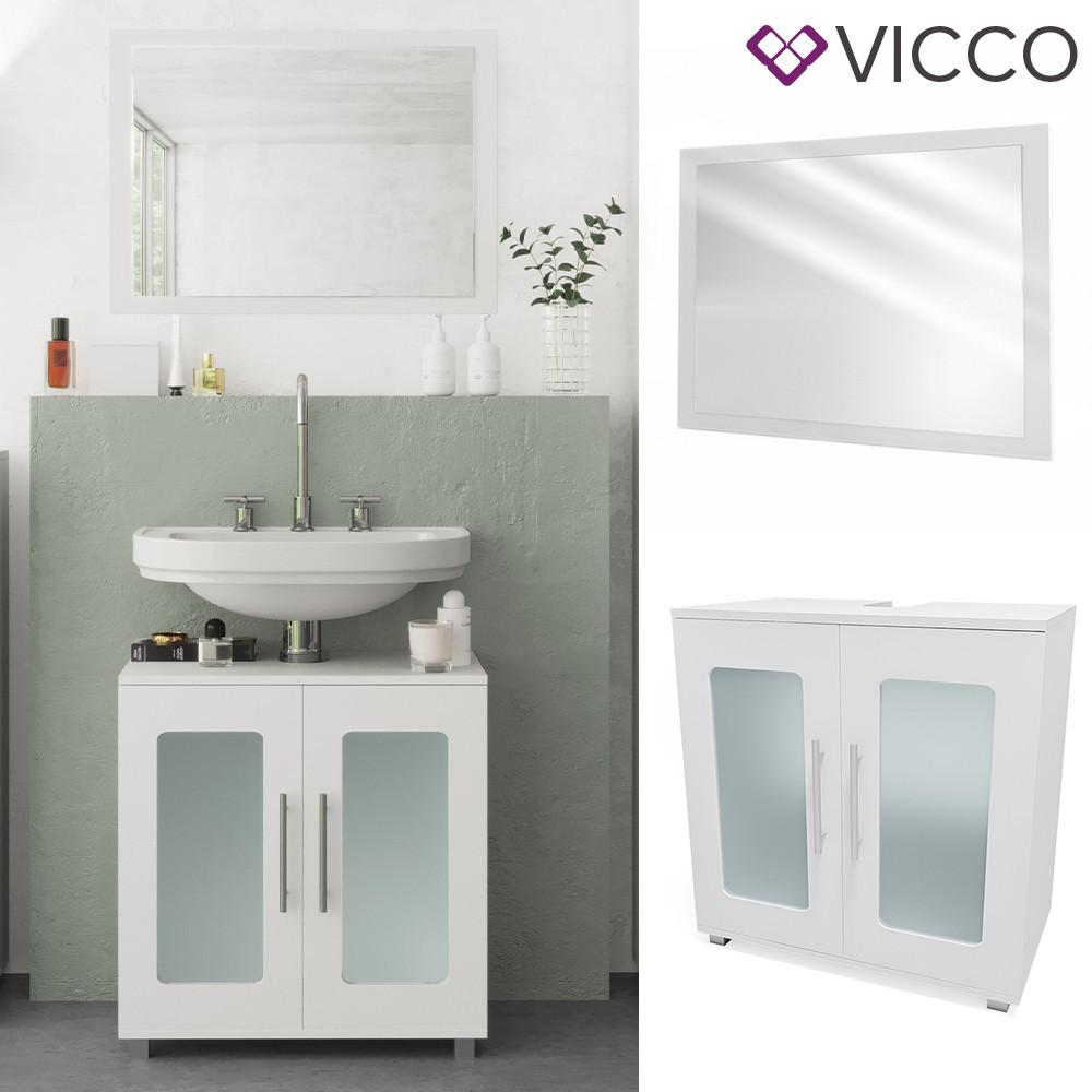 Комплект в ванную 2 предмета Vicco Rayk, зеркало + тумба, белый