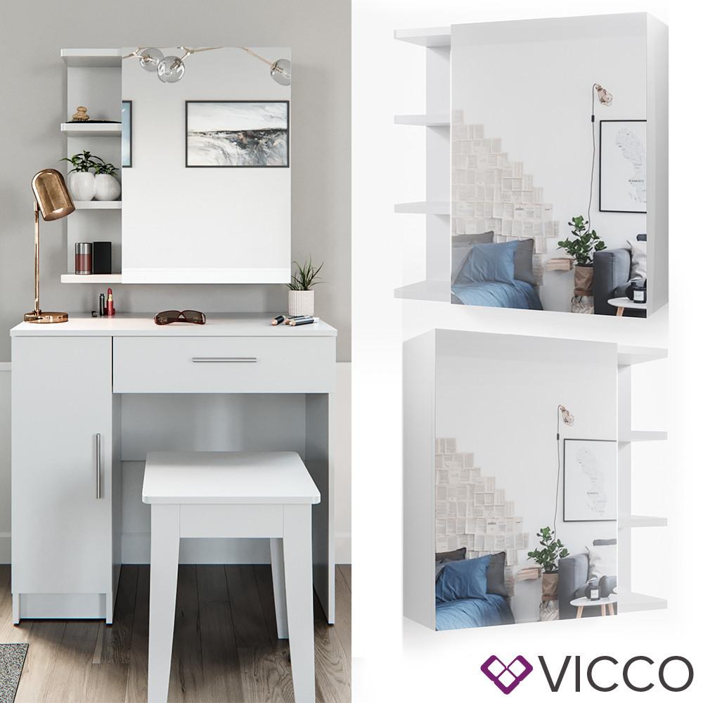 Косметический столик 80x74 Vicco Fynnia + зеркальный шкаф, белый