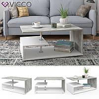 Кофейный столик 91x53 Vicco Guillermo, белый, бетон