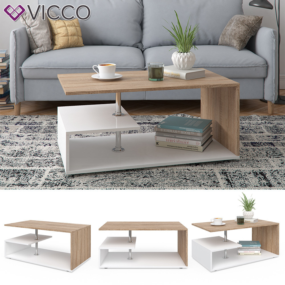 Кофейный столик 91x53 Vicco Guillermo, белый, сонома