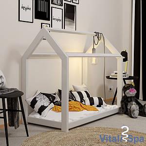 Ліжко - будиночок 70x140 VitaliSpa, натуральне дерево, біле