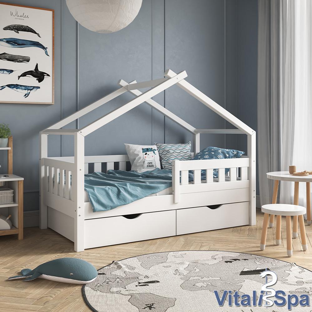 Кроватка - домик с ящиками 80x160 VitaliSpa, натуральное дерево, белая