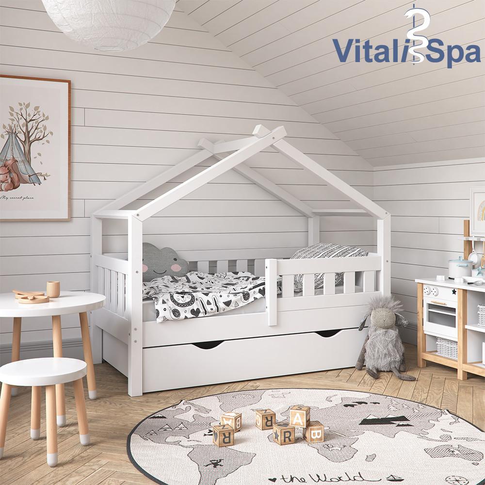 Кроватка - домик с ящиком 70x140 VitaliSpa, натуральное дерево, белая