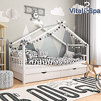 Кровать с бортиком и ящиками 90x200 VitaliSpa, натуральное дерево, белая