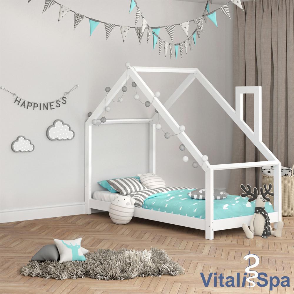 Кровать-домик детская 90x200 Nicole, натуральное дерево, белая