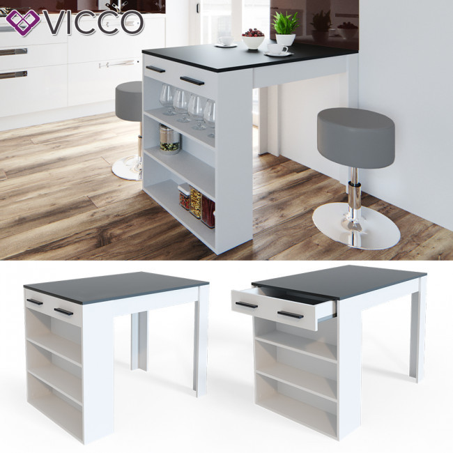 Кухонный барный стол 100х77,5 Vicco, белый, антрацит