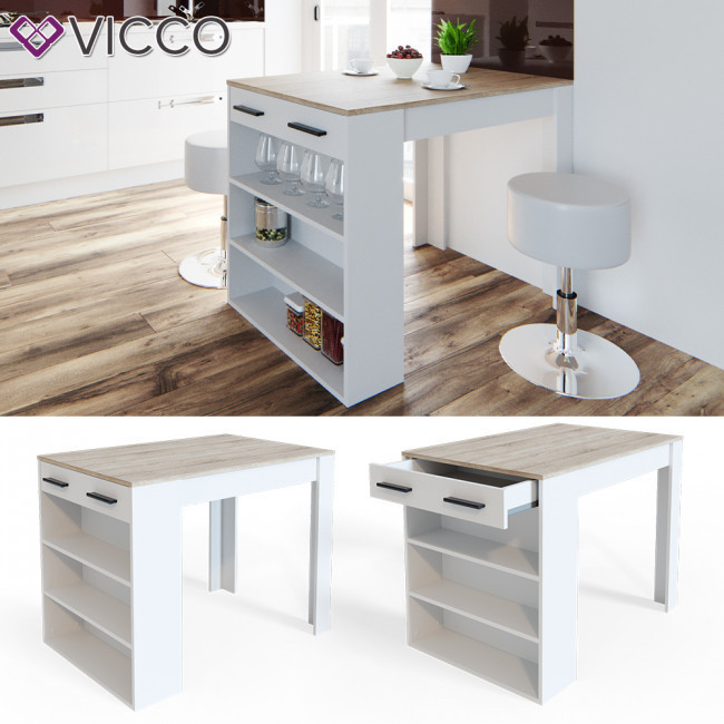 Кухонний барний стіл 100х77,5 Vicco, білий, сонома