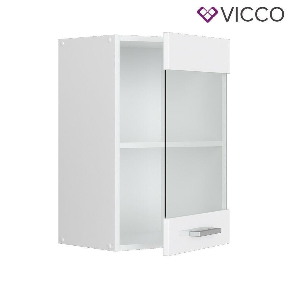 Кухонний скляний шафка 40х31 Vicco, білий