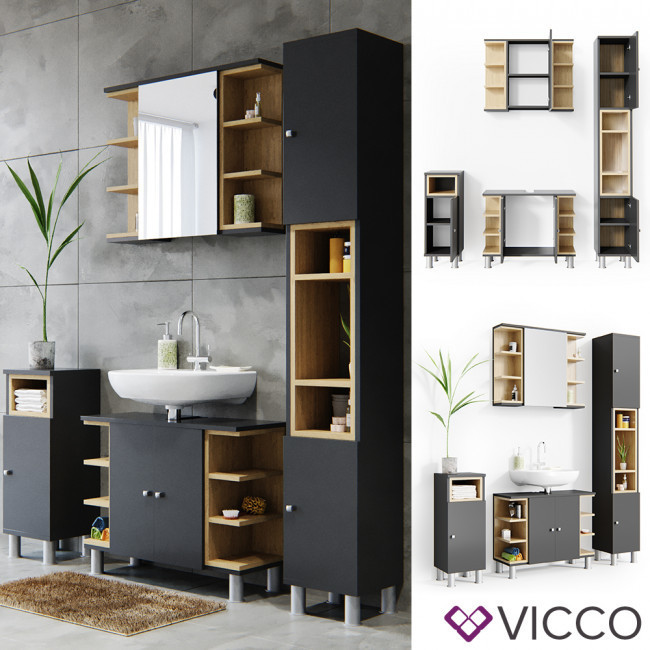 Мебель в ванную 4 предмета комплект Vicco Aquis, антрацит