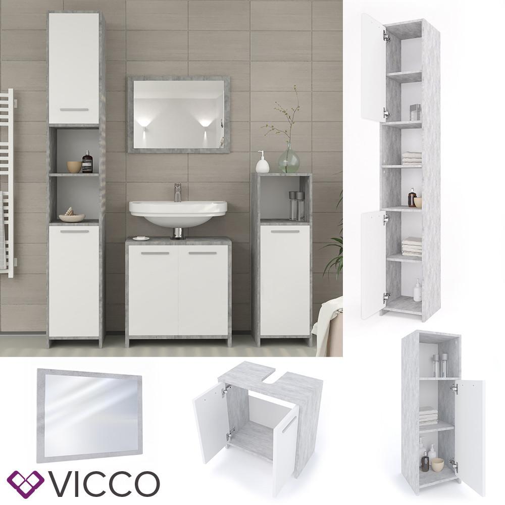 Мебель для ванной, 4 предмета Vicco Kiko, бетон
