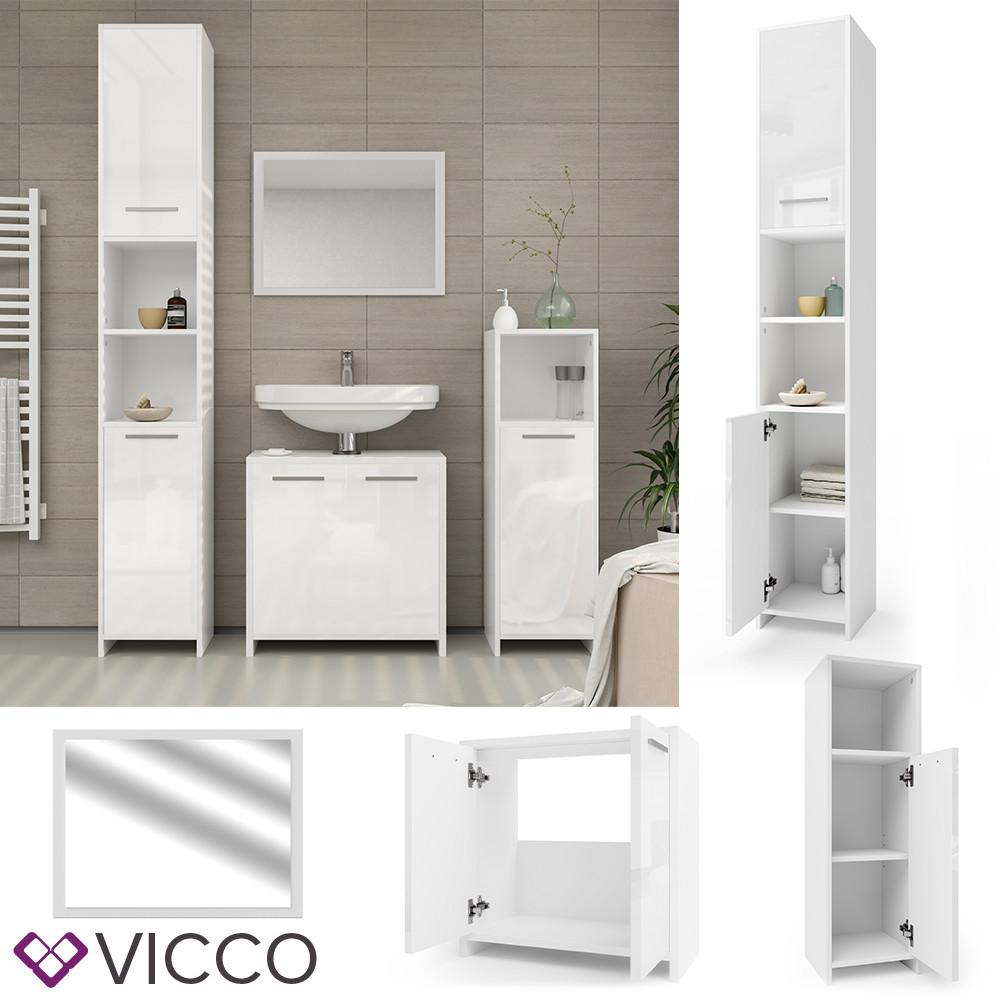 Меблі для ванної, 4 елементи Vicco Kiko, глянцевий