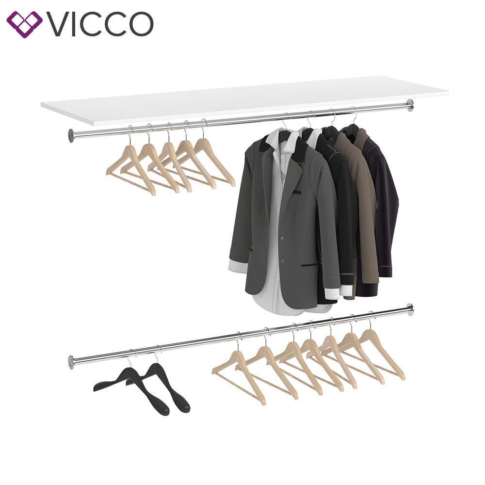 Модуль гардеробної системи Vicco Visit, планка + 2 вішаки, білий