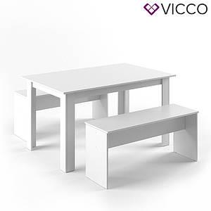 Обеденный стол + скамейки, Vicco белый