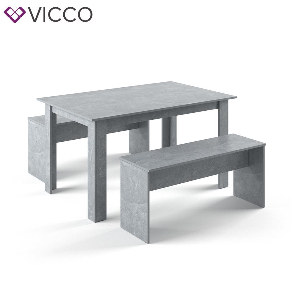 Обеденный стол + скамейки, Vicco бетон