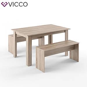Обеденный стол + скамейки, Vicco сонома