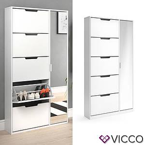 Обувной шкаф 90x170 + зеркало Vicco Luca, белый