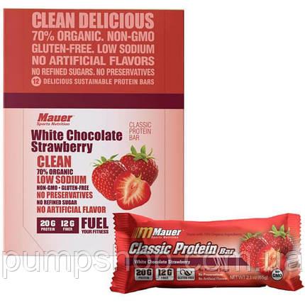 Протеиновый батончик Mauer Nutrition Classic Protein Bar 75 г клубника с белым шоколадом, фото 2