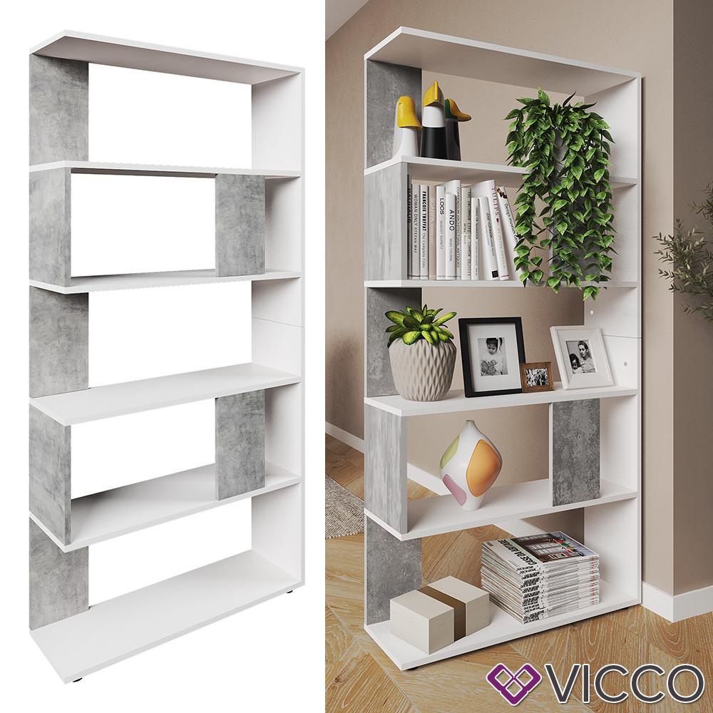 Відкритий стелаж 80x163, 5 полиць Vicco, білий, бетон