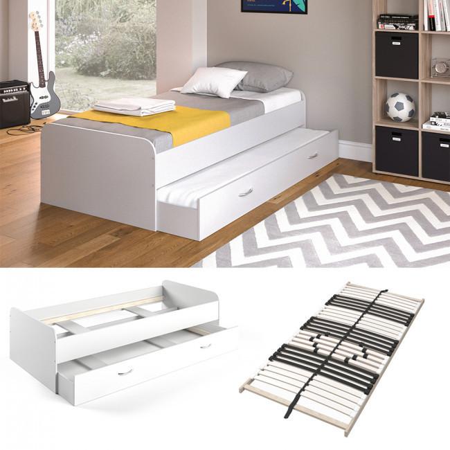 Подростковая кровать 90x200 Vicco Enzo + гостевое место, + ламели, белая