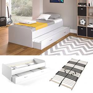 Підліткове ліжко 90x200 Vicco Enzo + гостьове місце, + ламелі, біле