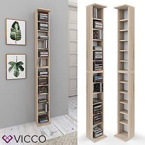 Полиця стелаж для CD дисків Vicco, 12 відсіків, Сонома