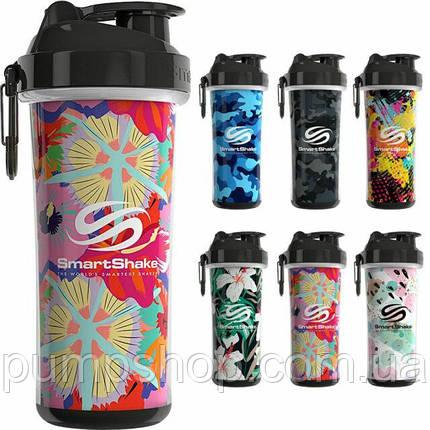 Шейкер SmartShake Double Wall Shaker Cup 800 мл цветы, фото 2
